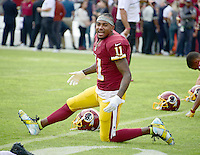 Washington Redskins wide receiver DeSean Jackson (11) warms-up prior to the game against the Cleveland Browns at FedEx Field in Landover, Maryland on October 2, 2016.  Earlier in the day, the Redskins released the a statement about Jackson's shoes.  Jackson is quoted as saying &ldquo;Today is the start of my attempts to be part of a solution and start dialogue about the senseless killings of both citizens and police. I have chosen to wear these cleats in pregame today to use my platform as a pro athlete to add to this discussion. This isn&rsquo;t meant to be any kind of protest against the good men and women in law enforcement in this country. I just want to express my concern in a peaceful and productive way about issues that are currently impacting our country.&rdquo;  The team added &ldquo;We stand in support of both DeSean and the law enforcement community. We have great respect for law enforcement and the sacrifices they make each and every day to protect and serve our communities. We continue to have open dialogue with our players about issues that are important to them and support their efforts to bring awareness to those issues when done in a responsible manner.&rdquo;<br /> Credit: Ron Sachs / CNP /MediaPunch ***EDITORIAL USE ONLY***