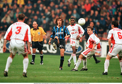 ANDREA PIRLO, INTER MILAN 2 v Spartak Moscow, UEFA Champions League 981021 Photo:Glyn Kirk/Action Plus<br /> <br /> <br /> 1998<br /> Soccer<br /> Italian League<br /> Pirelli <br /> football<br /> association<br /> club clubs