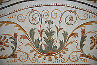 Picture of a Roman mosaics design depicting a geometric tendril designs from a Dionysus mosaic. The ancient Roman city of Thysdrus. 2nd century AD. El Djem Archaeological Museum, El Djem, Tunisia.