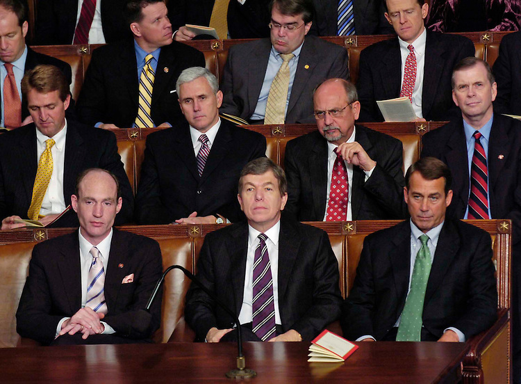 01/23/07--House Republicans listen as President George W. Bush delivers State of the Union address to a joint session of Congress at the U.S. Capitol. At right are House Minority Whip Roy Blunt, R-Mo., and House Minority Leader John A. Boehner, R-Ohio. Congressional Quarterly Photo by Scott J. Ferrell