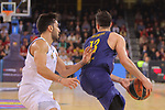 Turkish Airlines Euroleague 2017/2018.<br /> Regular Season - Round 23.<br /> FC Barcelona Lassa vs R. Madrid: 74-101.<br /> Facundo Campazzo vs Thomas Heurtel.
