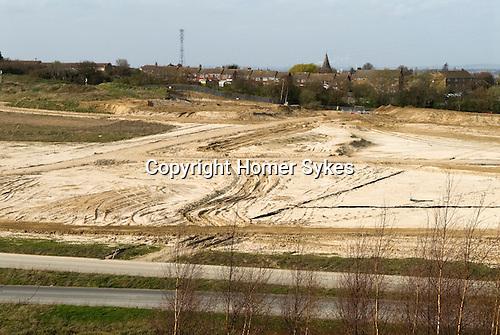 Ebbsfleet Valley Kent UK. Part of the proposed new Garden City. Castle Hill, looking across to Swanscombe.