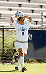 Rachel-Rose Cohen, of Duke, makes a throw-in on Sunday, October 16th, 2005 at Duke University's Koskinen Stadium in Durham, North Carolina. The Duke University Blue Devils defeated the University of Maryland Terrapins 1-0 during an NCAA Division I Women's Soccer game.