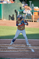 Bryan Torres (1) of the Rocky Mountain Vibes at bat against the Ogden Raptors at Lindquist Field on July 6, 2019 in Ogden, Utah. The Vibes defeated the Raptors 7-2. (Stephen Smith/Four Seam Images)