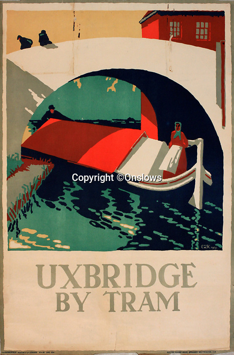 BNPS.co.uk (01202 558833)<br /> Pic: Onslows/BNPS<br /> <br /> Uxbridge - Trolley or tram travel was encouraged to the then leafy towns and villages around the capital.<br /> <br /> A fascinating treasure trove of old London posters are expected to sell at auction for £20,000 after being discovered in a garage.<br /> <br /> They were produced circa 1920 by the Underground Electric Railway Company to promote the capital's underground, tram and bus networks.<br /> <br /> There is also a charming selection of 'London Characters' posters showing different walks of life including a news boy, a zookeeper, a flower woman and a Covent Garden porter.<br /> <br /> The collection of 35 posters were found rolled up in a garage lock up in Kensington, west London, while it was being cleared out.<br /> <br /> The vendor, a lady in her 80s, inherited them many years ago from her late aunt who was an artist in the 1920s and had her own studio.