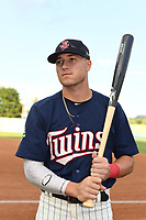 Seth Gray (18) of the Elizabethton Twins poses for a photo prior to a game against the Princeton Rays at Northeast Community Credit Union Ballpark on July 23, 2019 in Elizabethton, Tennessee. The Rays defeated the Twins 8-3. (Tracy Proffitt/Four Seam Images)