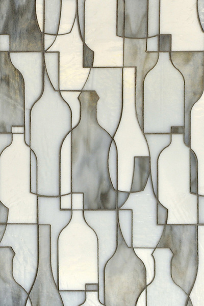 Bottles, a glass waterjet mosaic shown in Moonstone, Opal and Tourmaline, is part of the Erin Adams Collection for New Ravenna Mosaics.<br />