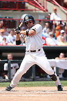 Erie SeaWolves Brandon Douglas #23 gets out of the way of a pitch during a game against the Harrisburg Senators at Jerry Uht Park on August 7, 2011 in Erie, Pennsylvania.  Harrisburg defeated Erie 6-1.  (Mike Janes/Four Seam Images)