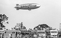 GoodYear Blimp flies above the crowd, 12 Hours or Sebring, Sebring International Raceway, Sebring, FL, March 19, 1983.  (Photo by Brian Cleary/bcpix.com)