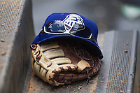 Round Rock Express hat during the Pacific Coast League baseball game on April 21, 2013 at the Dell Diamond in Round Rock, Texas. Round Rock defeated New Orleans 7-1. (Andrew Woolley/Four Seam Images).