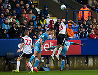 Bolton Wanderers' Eddie Brown wins the ball in the air<br /> <br /> Photographer Andrew Kearns/CameraSport<br /> <br /> The EFL Sky Bet Championship - Bolton Wanderers v Coventry City - Saturday 10th August 2019 - University of Bolton Stadium - Bolton<br /> <br /> World Copyright © 2019 CameraSport. All rights reserved. 43 Linden Ave. Countesthorpe. Leicester. England. LE8 5PG - Tel: +44 (0) 116 277 4147 - admin@camerasport.com - www.camerasport.com