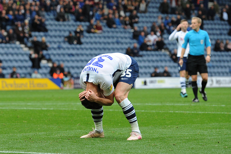 Preston North End's David Nugent looks dejected after missing a chance<br /> <br /> Photographer Kevin Barnes/CameraSport<br /> <br /> The EFL Sky Bet Championship - Preston North End v Barnsley - Saturday 5th October 2019 - Deepdale Stadium - Preston<br /> <br /> World Copyright © 2019 CameraSport. All rights reserved. 43 Linden Ave. Countesthorpe. Leicester. England. LE8 5PG - Tel: +44 (0) 116 277 4147 - admin@camerasport.com - www.camerasport.com