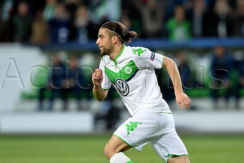 06.04.2016. Wolfsburg, Geramny. UEFA Champions League quarterfinal. VfL Wolfsburg versus Real Madrid.  FuBball Champions League Ricardo Rodriguez Wolfsburg celebrates his goal for 1-0