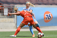Houston, TX - Saturday April 15, 2017: Rachel Daly and Julie Ertz battle for control of the ball during a regular season National Women's Soccer League (NWSL) match between the Houston Dash and the Chicago Red Stars at BBVA Compass Stadium.