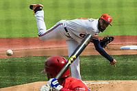 Daryl Thompson, pitcher inicial Caribes de Anzoátegui de Venezuela, hace lanzamientos a home en el primer inning contra Caguas de Puerto Rico, durante la Serie del Caribe en estadio Panamericano en Guadalajara, México, Miércoles 7 feb 2018.  (Foto: AP/Luis Gutierrez)