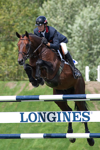 HICKSTEAD ENGLAND. 31-07-2010. Kepi D'Elle ridden by Daniel Moseley competing in The Old Lodge Queen Elizabeth II Cup, during The Longines Royal International Horse Show, held at The All England Jumping Course, Hickstead.