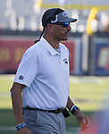 Nevada coach Jay Norvell works the sideline during the Nevada vs Weber State football game in Reno, Nevada on Saturday, Sept. 14, 2019.