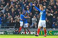 Gareth Evans of Portsmouth celebrates scoring the third goal with Jamal Lowe of Portsmouth during Portsmouth vs Rochdale, Sky Bet EFL League 1 Football at Fratton Park on 13th April 2019
