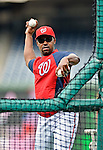 16 May 2012: Washington Nationals third base coach Bo Porter throws batting practice prior to game action against the Pittsburgh Pirates at Nationals Park in Washington, DC. The Nationals defeated the Pirates 7-4 in the first game of their 2-game series. Mandatory Credit: Ed Wolfstein Photo