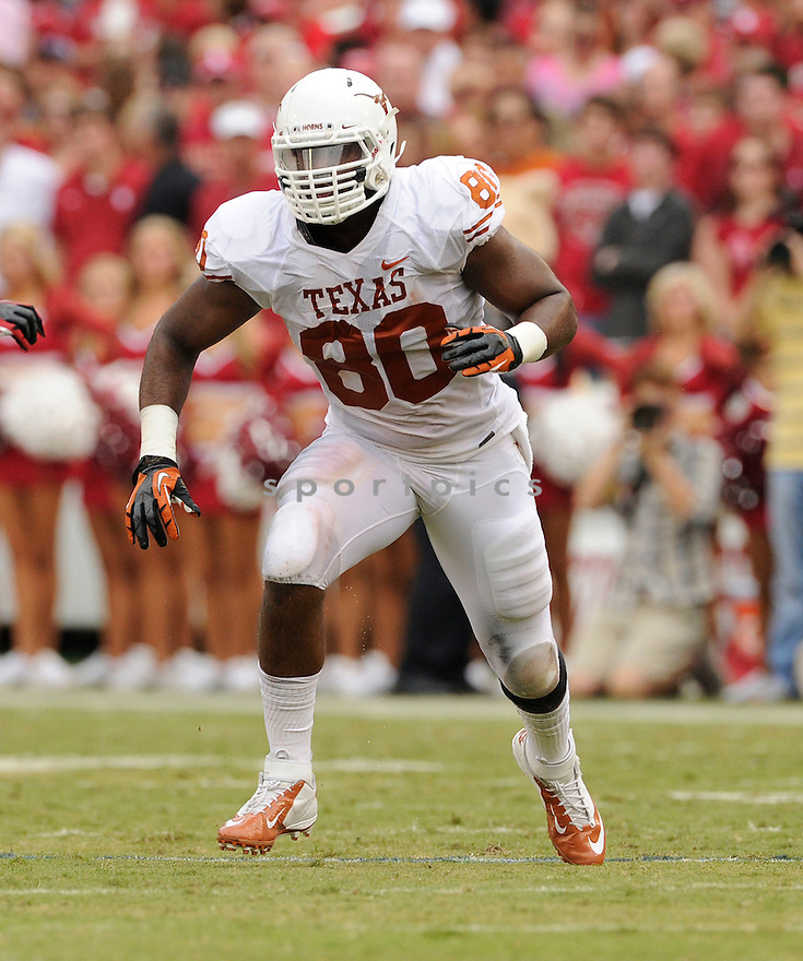 Texas Longhorns Alex Okafor (80) in action during a game against Oklahoma on October 13, 2012 at the Cotton Bowl in Dallas Texas. Oklahoma beat Texas 63-21.