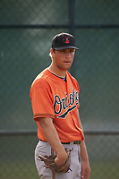Baltimore Orioles Max Schuh (75) during a minor league Spring Training intrasquad game on April 2, 2016 at Buck O'Neil Complex in Sarasota, Florida.  (Mike Janes/Four Seam Images)