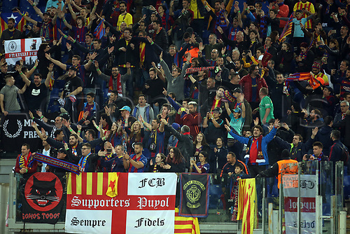 10th April 2018, Stadio Olimpico, Rome, Italy; UEFA Champions League football, quarter final, second leg; AS Roma versus FC Barcelona; supporters of Barcelona supporting their team