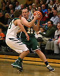 Miners' Jack Sanders presures Alumni Dominic Anxo in the alumni game at the Wild West Shootout at Bishop Manogue High School in Reno, Nev., on Wednesday, Dec. 4, 2013. The Miners defeated the alumni 79-62. <br /> Photo by Cathleen Allison