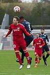 11.11.2018, Marschwegstadion, Oldenburg, GER, RL Nord, VfB Oldenburg vs VfB L&uuml;beck,  DFL regulations prohibit any use of photographs as image sequences and/or quasi-video, im Bild<br /> Kopfball<br /> E. Ndure (VfB Oldenburg #3 )<br /> Florian Riedel ( VfB L&uuml;beck#39 )<br /> Foto &copy; nordphoto / Rojahn
