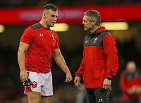 1st February 2020; Millennium Stadium, Cardiff, Glamorgan, Wales; International Rugby, Six Nations Rugby, Wales versus Italy; Jarrod Evans of Wales speaks with defence coach Byron Hayward during the warm up
