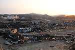 March 29, 2011, Minamisanriku, Miyagi, Japan - The town is still in ruins more than two weeks after the tsunami. In Shizugawa, the destruction stretches as far as the eye can see. (Photo by Wesley Cheek/AFLO) [3682]