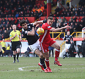 17th March 2018, Pittodrie Stadium, Aberdeen, Scotland; Scottish Premier League football, Aberdeen versus Dundee; Sofien Moussa of Dundee battles for the ball with Andrew Considine of Aberdeen