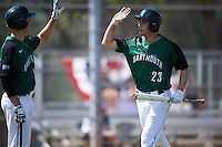 Dartmouth Big Green left fielder Matt Feinstein (23) high fives Nate Ostmo (19) after scoring a run during a game against the Eastern Michigan Eagles on February 25, 2017 at North Charlotte Regional Park in Port Charlotte, Florida.  Dartmouth defeated Eastern Michigan 8-4.  (Mike Janes/Four Seam Images)
