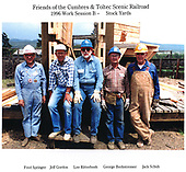 Crew of Friends of C&amp;TS RR 1996 work session B at Chama stock yards.<br /> C&amp;TS  Chama, NM  Taken by Berkstresser, George - 1996