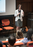 "Food conference keynote address by Dr. Sharon Friel titled, ""The Politics, Policies, and Processes of 21st Century Trade and Investment: Challenges for Food and Nutrition across the Pacifc Rim."" Dr. Sharon Friel is Professor of Health Equity and Director of the School of Regulation and Global Governance (RegNet), Australian National University. Choi Auditorium.<br /> Occidental College hosts the Oxy Food Conference, an annual meeting and conference for the Agriculture, Food and Human Values Society (AFHVS)/Association for the Study of Food and Society (ASFS). The event ran from June 14-17, 2017 and was organized by Oxy associate professor of sociology John Lang. This was the first time Oxy hosted this conference.<br /> More than 500 food scholars converged for one of the discipline's largest international conferences and the chance to discuss everything from sustainable agricultural and fisheries practices to the cultural significance of Basque-American ""picon punch.""<br /> (Photo by Marc Campos, Occidental College Photographer)"