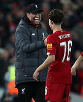 30th October 2019; Anfield, Liverpool, Merseyside, England; English Football League Cup, Carabao Cup, Liverpool versus Arsenal; Liverpool manager Jurgen Klopp celebrates with Neco Williams of Liverpool as Liverpool win on penalties - Strictly Editorial Use Only. No use with unauthorized audio, video, data, fixture lists, club/league logos or 'live' services. Online in-match use limited to 120 images, no video emulation. No use in betting, games or single club/league/player publications