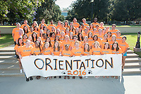 Group photo of O-Team on Aug. 22, 2016. The Occidental College O-Team are the primary ambassadors to new students (first-year or transfer students) at during Orientation Week and work very hard to keep new students on schedule with spirits high.<br /> (Photo by Marc Campos, Occidental College Photographer)