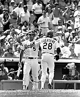 Los Angeles Dodgers Mike Marshall #5 and Pedro Guerrero #28 during a game against the New York Mets at Dodger Stadium during the 1987 season in Los Angeles,California.(Larry Goren/Four Seam Images)