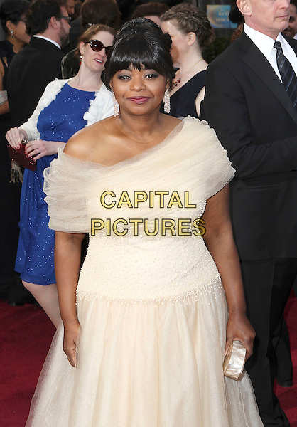 Octavia Spencer.85th Annual Academy Awards held at the Dolby Theatre at Hollywood & Highland Center, Hollywood, California, USA..February 24th, 2013.oscars half length white tulle off the shoulder dress clutch bag.CAP/ADM/SLP/COL.©Colin/StarlitePics/AdMedia/Capital Pictures