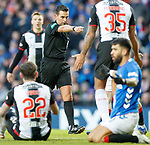 02.02.2019: Rangers v St Mirren: Andrew Dallas points to the spot after Daniel Candeias is fouled on the edge of the area