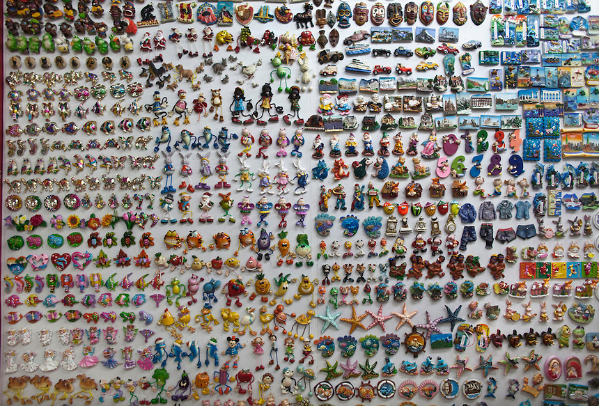 A wall full of decorative magnets for sale in the Yiwu Small Commodity Market, the world's largest wholesalers market selling more than 17 million kinds of commodities that are exported all over the globe. More than 200 metric tones of goods are exported from Yiwu every day.