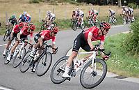Nairo Quintana (COL/Arkea-Samsic) piloted down by Maxime Bouet (FRA/Arkea-Samsic)<br /> <br /> Stage 1: Clermont-Ferrand to Saint-Christo-en-Jarez (218km)<br /> 72st Critérium du Dauphiné 2020 (2.UWT)<br /> <br /> ©kramon