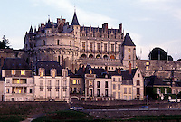 castle, France, Loire Valley, Amboise, Europe, Loire Castle Region, Indre-et-Loire, 15th century Chateau Amboise along the Loire River in the city of Amboise.