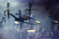 Honolulu, Hawaii, June 1969. American-Japanese war film that dramatises the Japanese attack on Pearl Harbor. Photo of Japanese Zero bombing the SS Nevada, SS Tennessee and SS California. The film was directed by Richard Fleischer