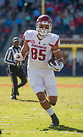 Hawgs Illustrated/BEN GOFF <br /> Cheyenne O'Grady, Arkansas tight end, runs for a touchdown in the third quarter against Ole Miss Saturday, Oct. 28, 2017, at Vaught-Hemingway Stadium in Oxford, Miss.