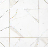 Axel Grand, a hand-cut stone mosaic, show in polished Calacatta Gold, is part of the Semplice™ collection for New Ravenna.