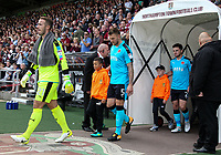 The Fleetwood town players enter the pitch<br /> <br /> Photographer Andrew Kearns/CameraSport<br /> <br /> The EFL Sky Bet League One - Northampton Town v Fleetwood Town - Saturday August 12th 2017 - Sixfields Stadium - Northampton<br /> <br /> World Copyright &copy; 2017 CameraSport. All rights reserved. 43 Linden Ave. Countesthorpe. Leicester. England. LE8 5PG - Tel: +44 (0) 116 277 4147 - admin@camerasport.com - www.camerasport.com