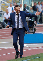 Roma's coach Eusebio Di Francesco gives indications to his players during the Italian Serie A football match between Roma and Lazio at Rome's Olympic stadium, September 29, 2018. Roma won 3-1.<br /> UPDATE IMAGES PRESS/Riccardo De Luca