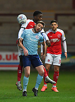 Fleetwood Town's Jay Matete battles with Accrington Stanley's Sam Finley<br /> <br /> Photographer Dave Howarth/CameraSport<br /> <br /> Leasing.com Trophy Northern Section Round Three - Fleetwood Town v Accrington Stanley - Tuesday 7th January 2020 - Highbury Stadium - Fleetwood<br />  <br /> World Copyright © 2018 CameraSport. All rights reserved. 43 Linden Ave. Countesthorpe. Leicester. England. LE8 5PG - Tel: +44 (0) 116 277 4147 - admin@camerasport.com - www.camerasport.com