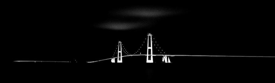 The Storebaelt Bridge from Korsor to Nyborg in Denmark
