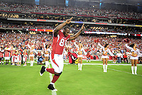 Aug. 22, 2009; Glendale, AZ, USA; Arizona Cardinals wide receiver Anquan Boldin is introduced prior to the game against the San Diego Chargers during a preseason game at University of Phoenix Stadium. Mandatory Credit: Mark J. Rebilas-